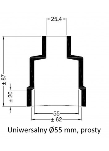 - Dekiel uniwersalny Ø 55 mm prosty -