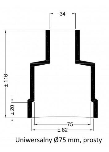 - Dekiel uniwersalny Ø75 mm prosty -