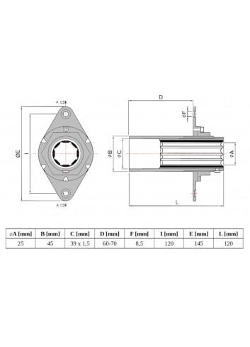 GL-LS25 - Głowica LS ⌀25 z łożyskiem mosiężno-gumowym -