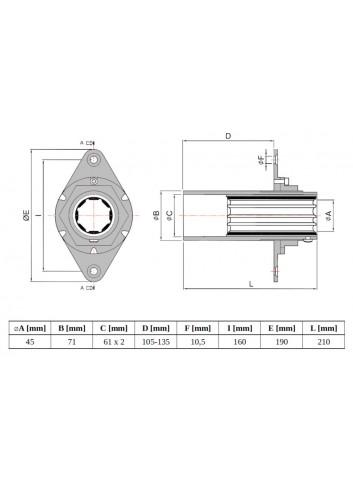 GL-LS40 - Głowica LS ⌀45 z łożyskiem mosiężno-gumowym -